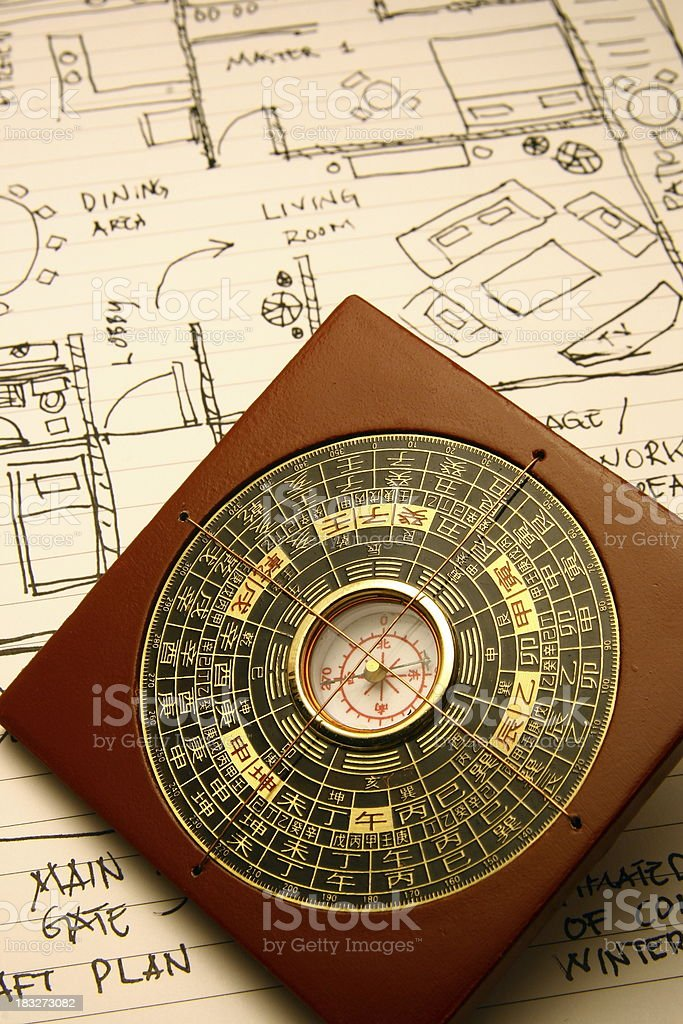 compass and floorplan stock photo