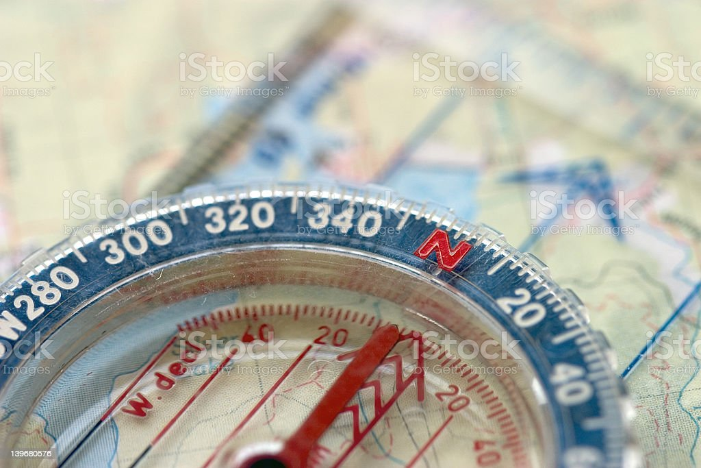 Compass and Map, Macro royalty-free stock photo