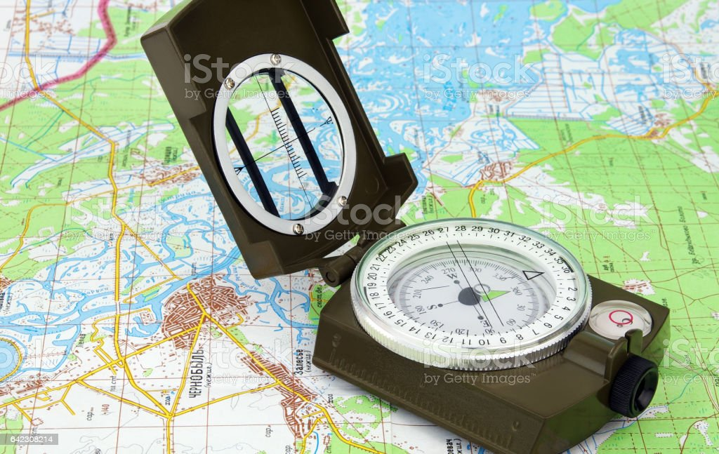 Compass and map of Chernobyl stock photo