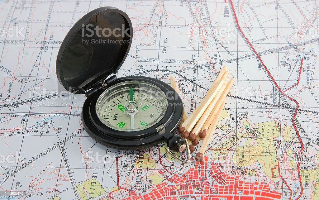 compass and map royalty-free stock photo