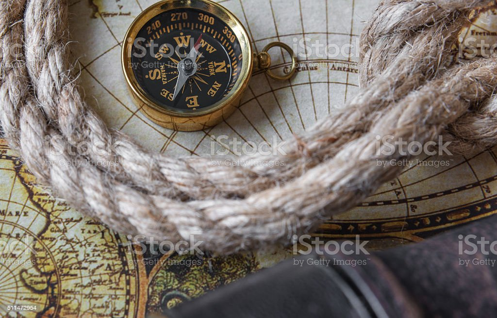 Compass and marine knot stock photo