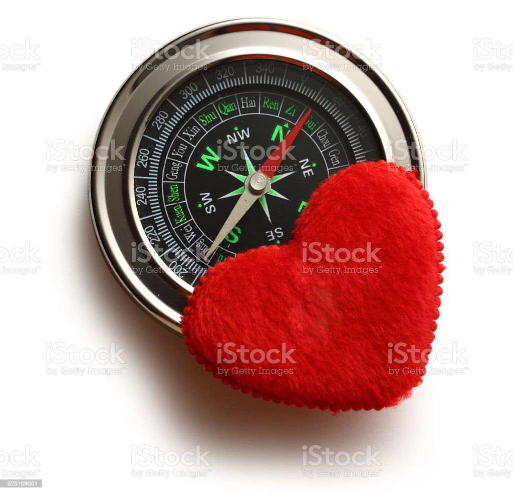 Compass and red heart stock photo