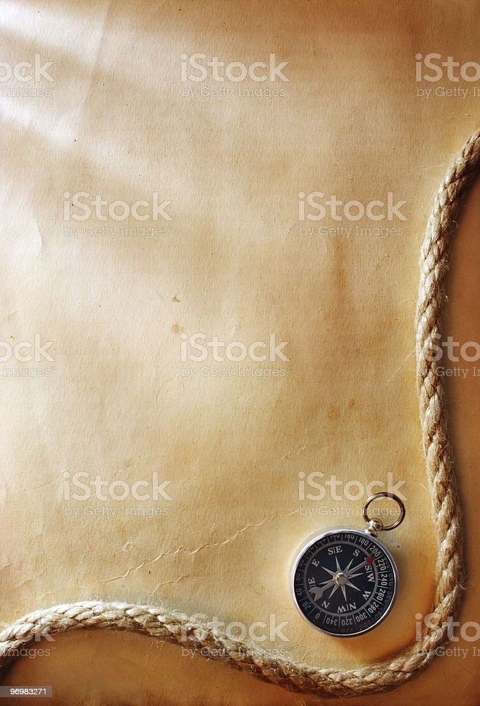 compass and rope royalty-free stock photo