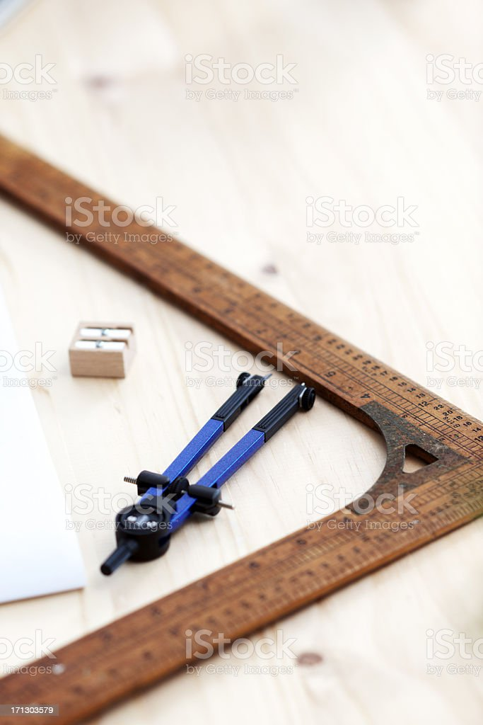 Compass and ruler stock photo
