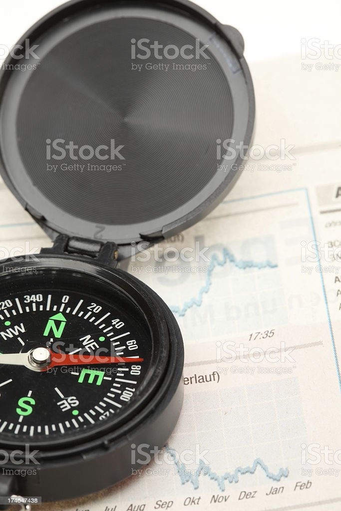 Compass and stock market chart royalty-free stock photo