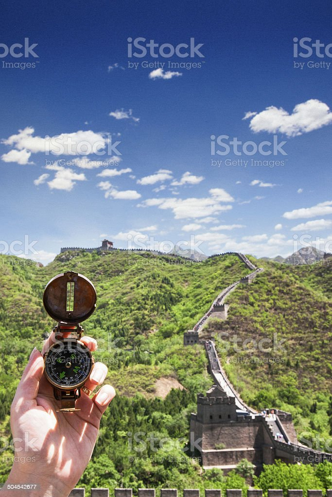 Compass at Great Wall of China stock photo