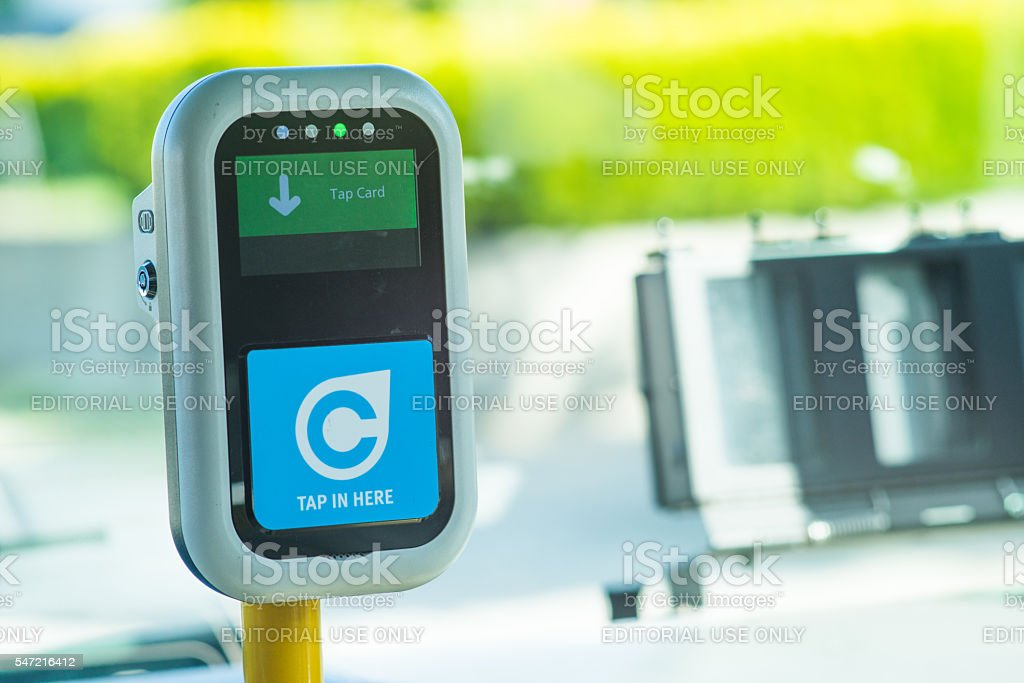Compass card tap machine for Vancouver BC Translink stock photo