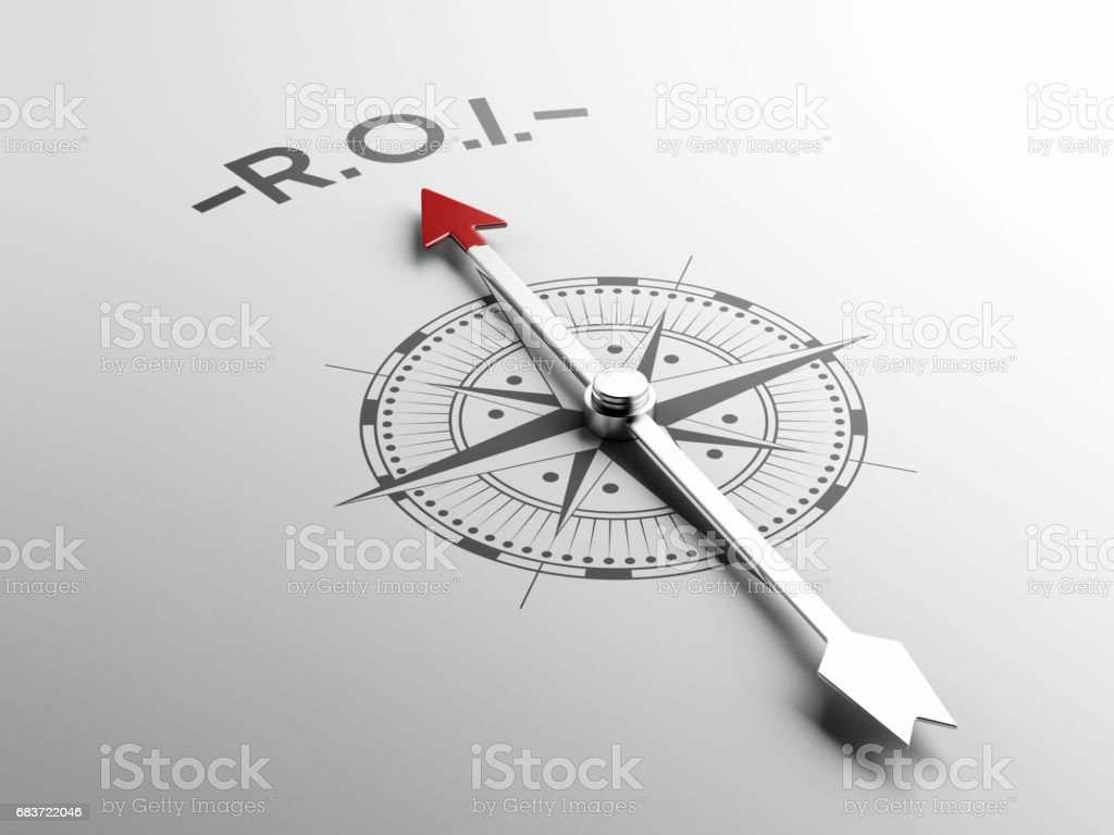 Compass Concept with the red needle pointing stock photo