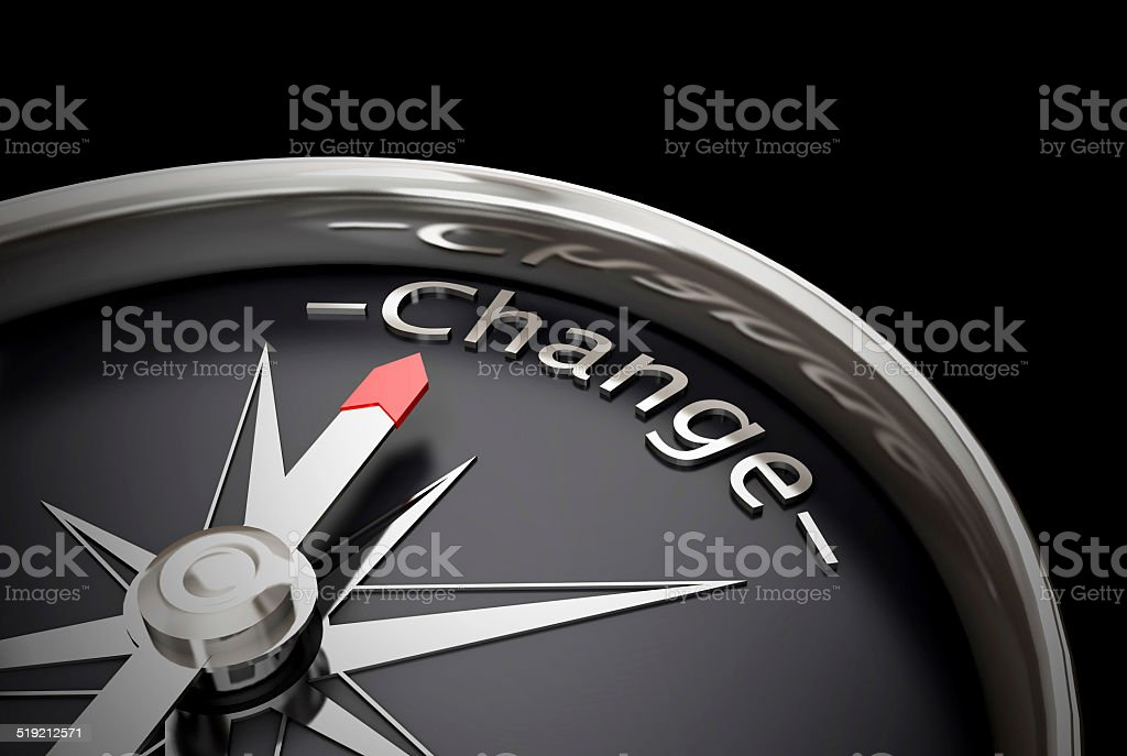 Compass direction change stock photo