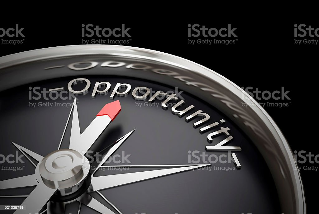 Compass direction pointing towards opportunity vector art illustration