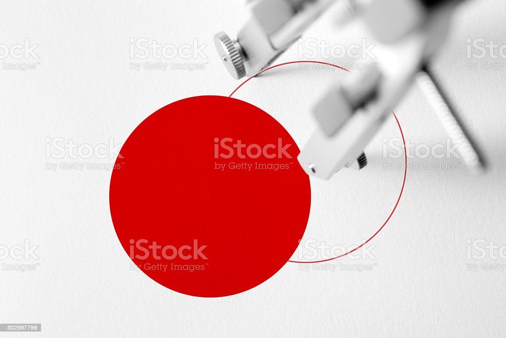 Compass drawing a red circle royalty-free stock photo