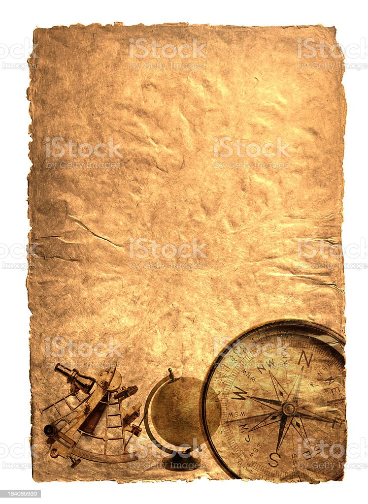 Compass, Globe, and Sextant On Warm Textured Background royalty-free stock photo