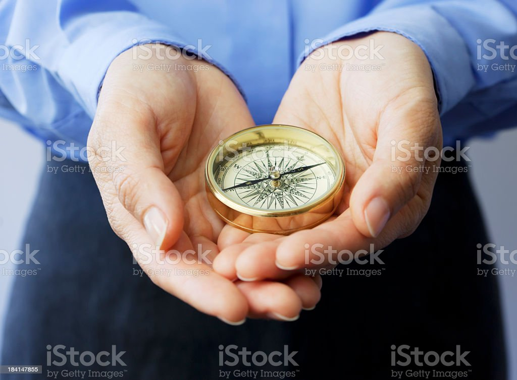 Compass: Holding the future royalty-free stock photo