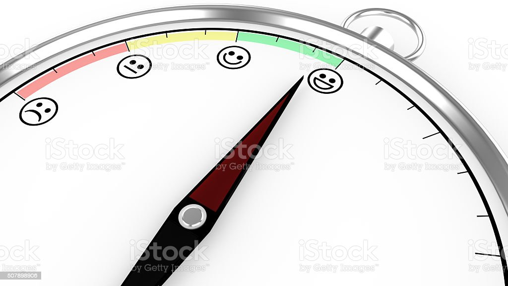 Compass illustration with satisfaction meter stock photo