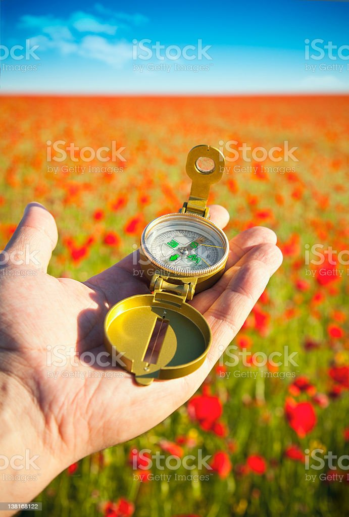 Compass in a Hand / Discovery / Beautiful Day royalty-free stock photo