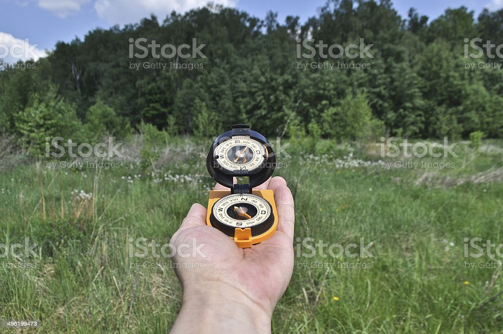 Compass in hand, against background of the forest. stock photo