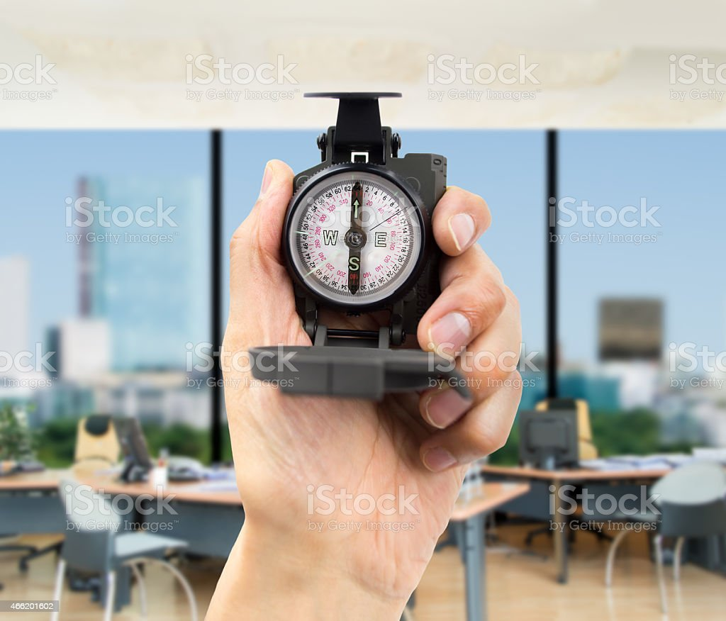 Compass in the palm of a hand stock photo
