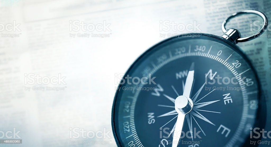 compass in vintage style on mulberry paper texture stock photo