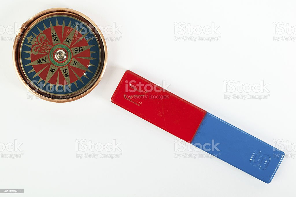 Compass magnetic field stock photo