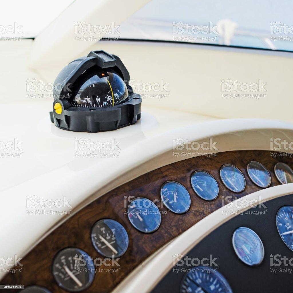 Compass. Motor Yacht Cockpit stock photo
