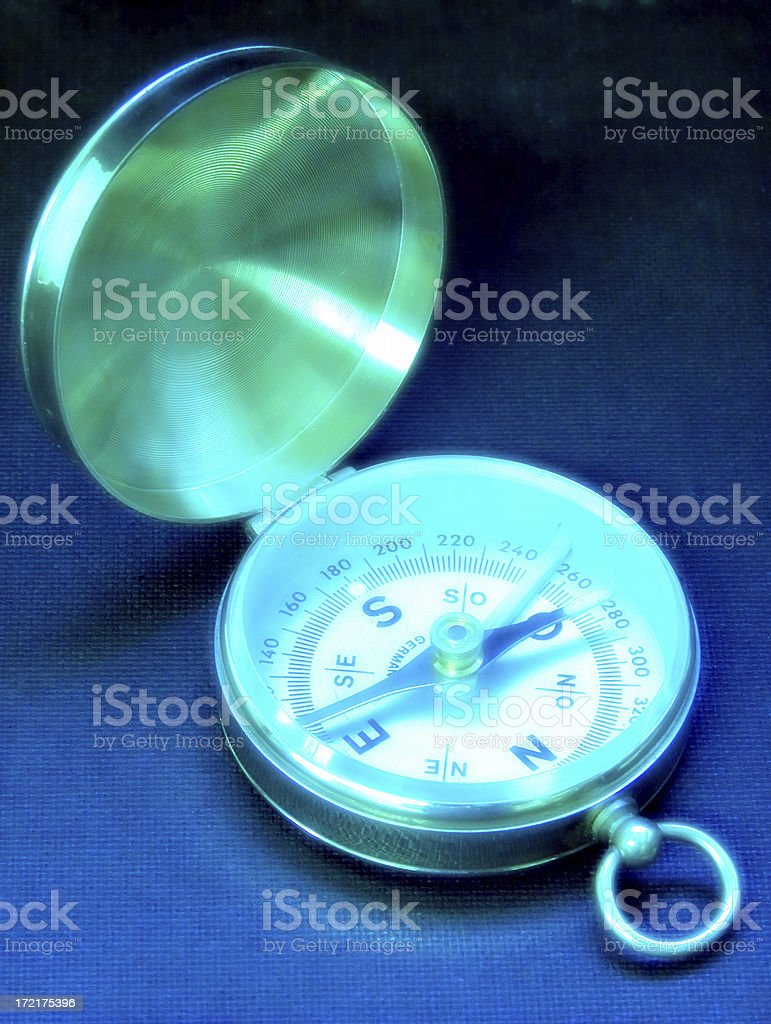 compass: neon blue royalty-free stock photo