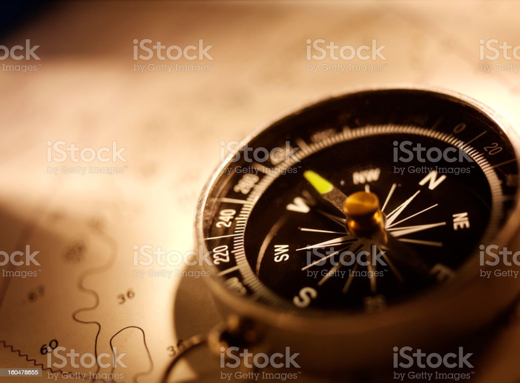 Compass on a Chart royalty-free stock photo