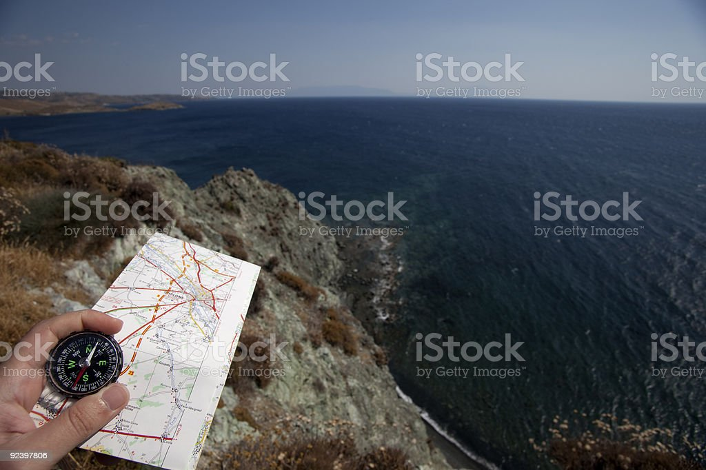 compass on a map royalty-free stock photo