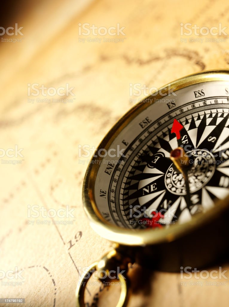 Compass on a Nautical Chart royalty-free stock photo