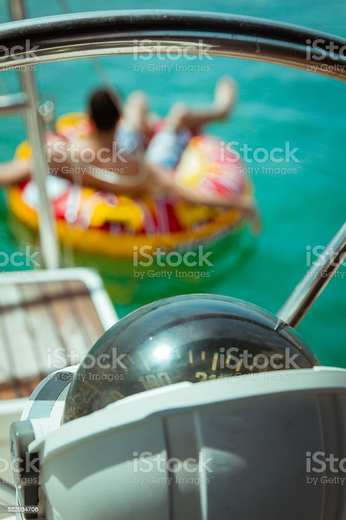 Compass on a yacht boat stock photo