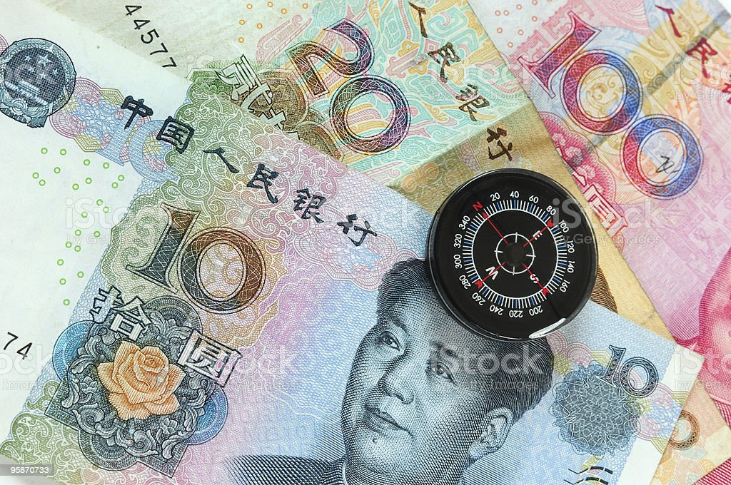 Compass on currencies. Series... stock photo