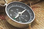 compass on gunnysack
