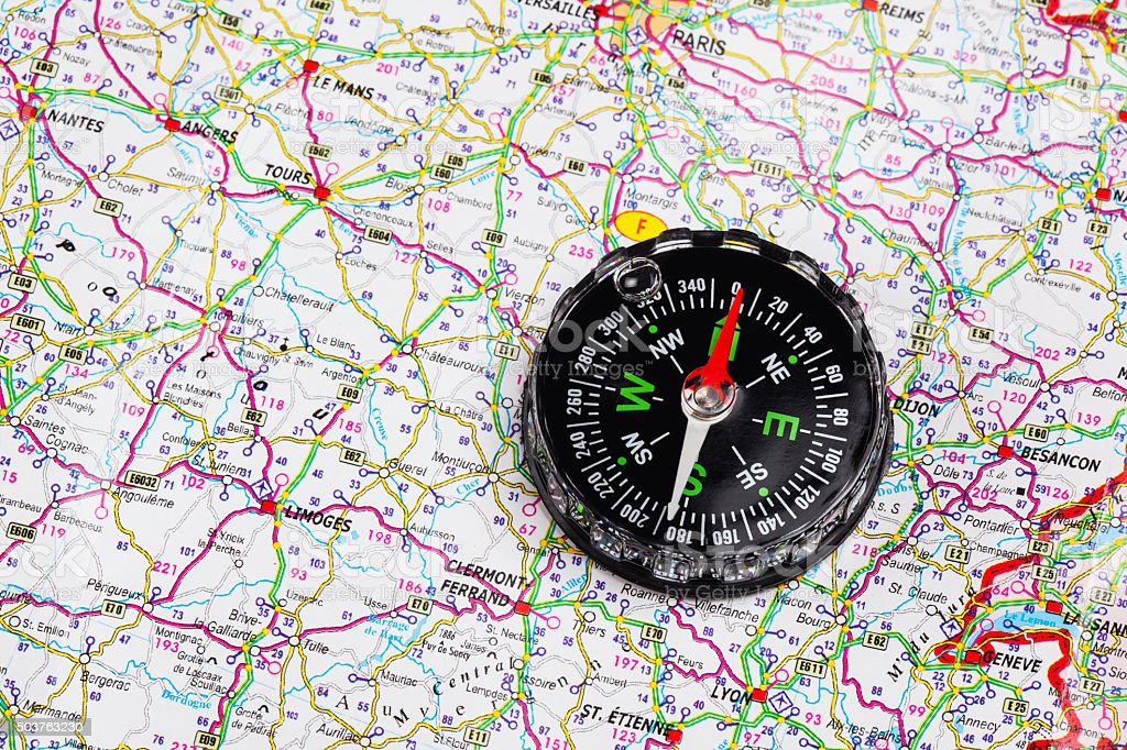 Compass on map of   France stock photo