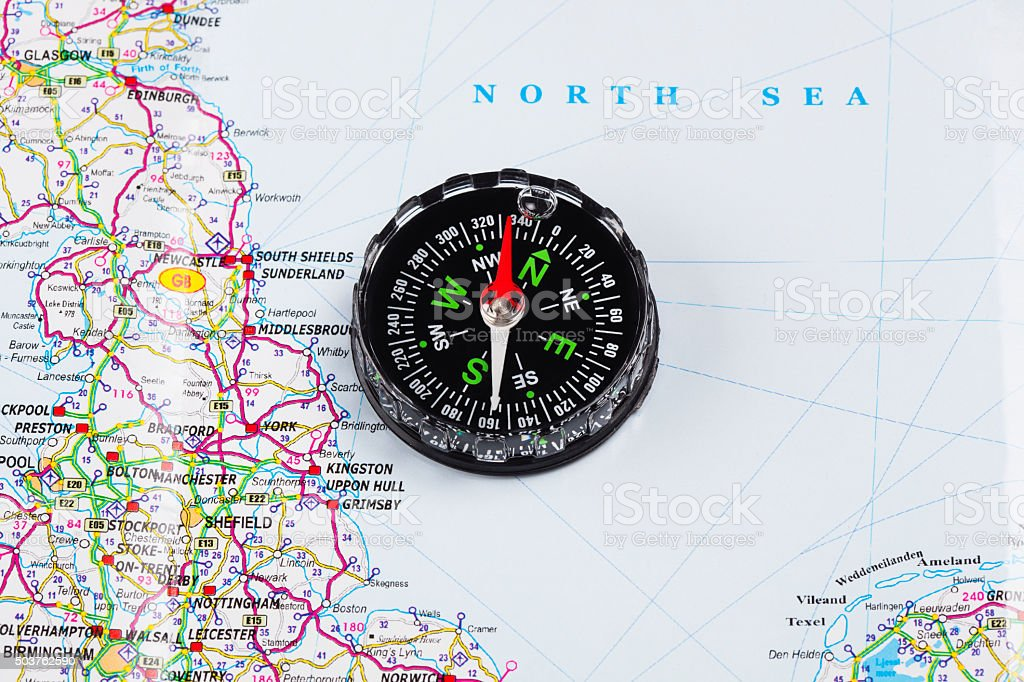 Compass on map of   North sea stock photo