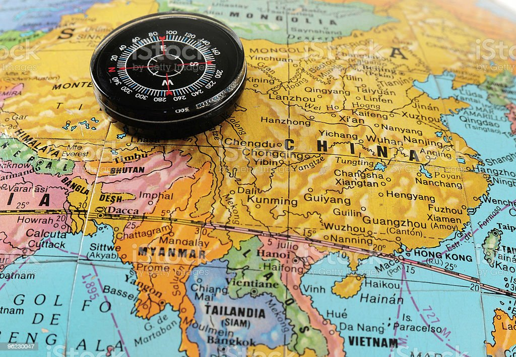 Compass on map. stock photo
