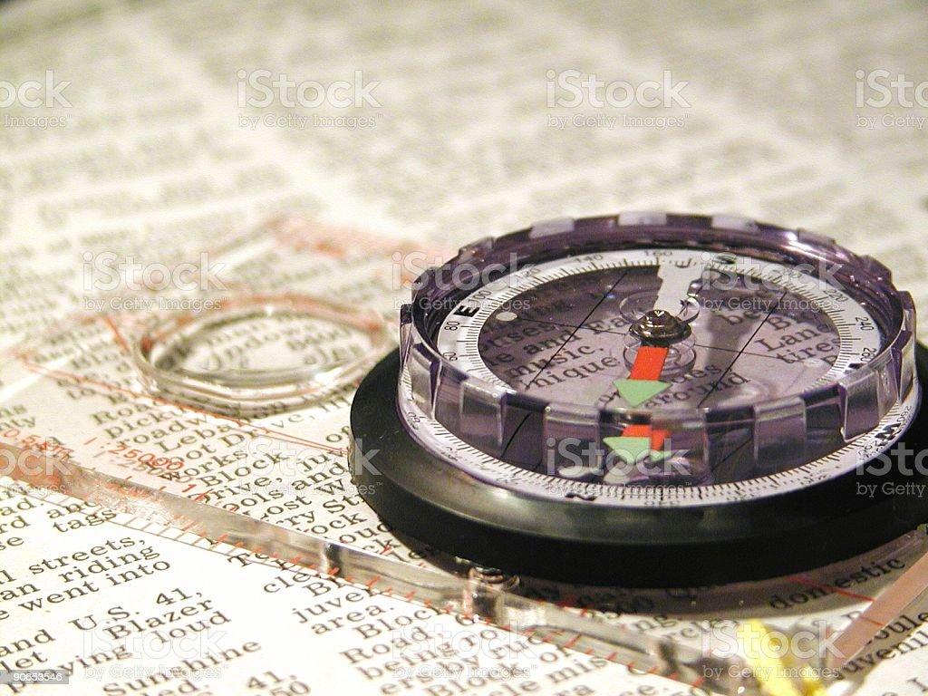 Compass on NewsPaper-Horizontal royalty-free stock photo
