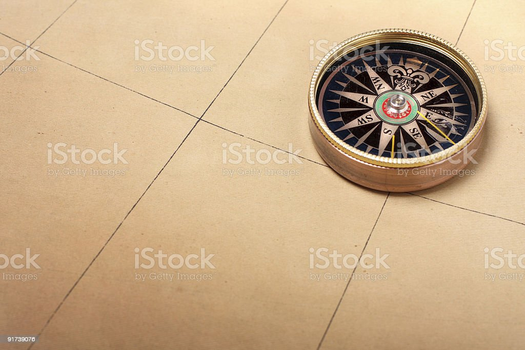 Compass on old map royalty-free stock photo