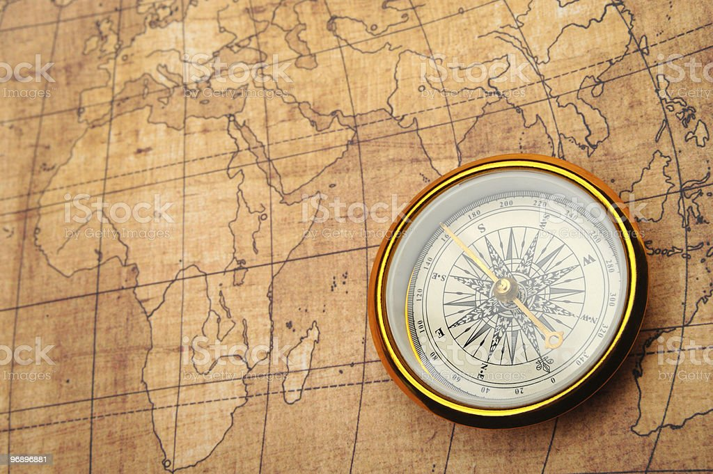 Compass on old map. royalty-free stock photo
