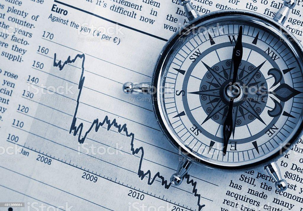 Compass on stock market charts stock photo