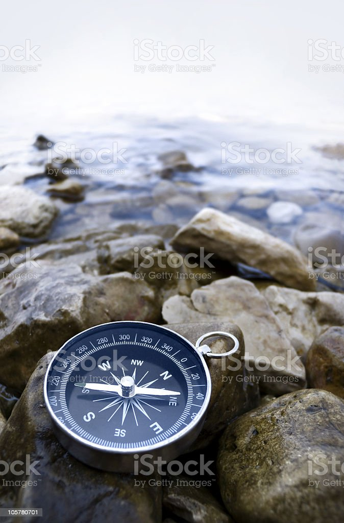 compass on the coast stock photo