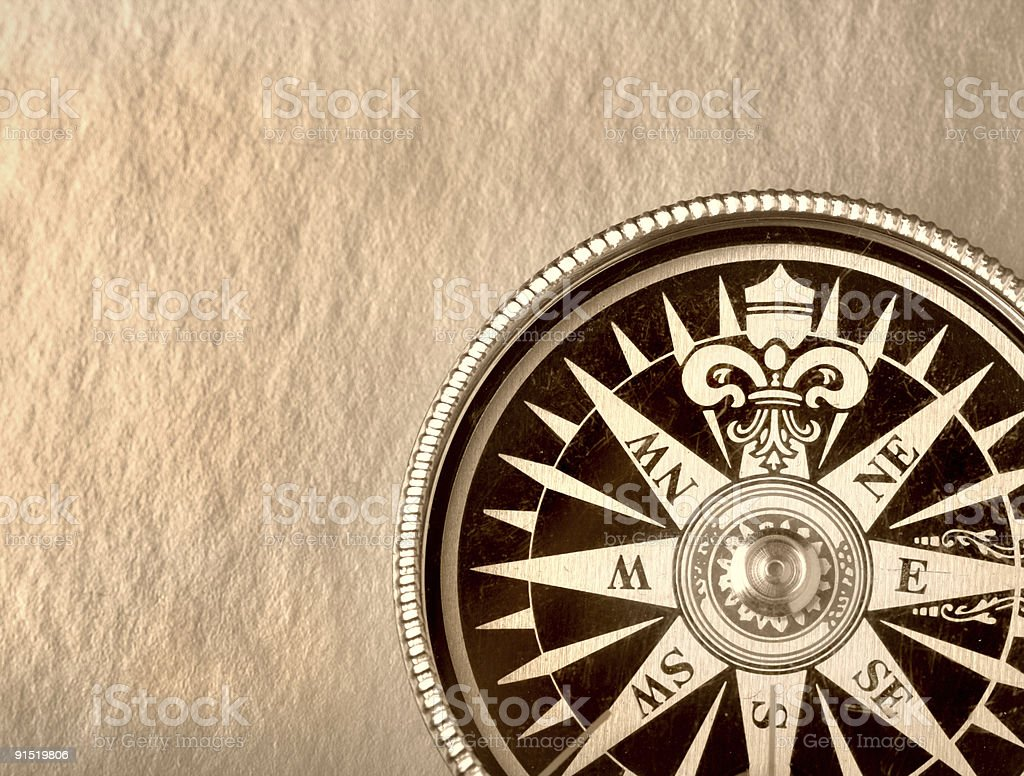 Compass on the old paper royalty-free stock photo