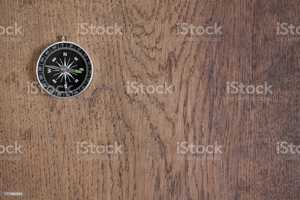 Compass on the old wooden background stock photo