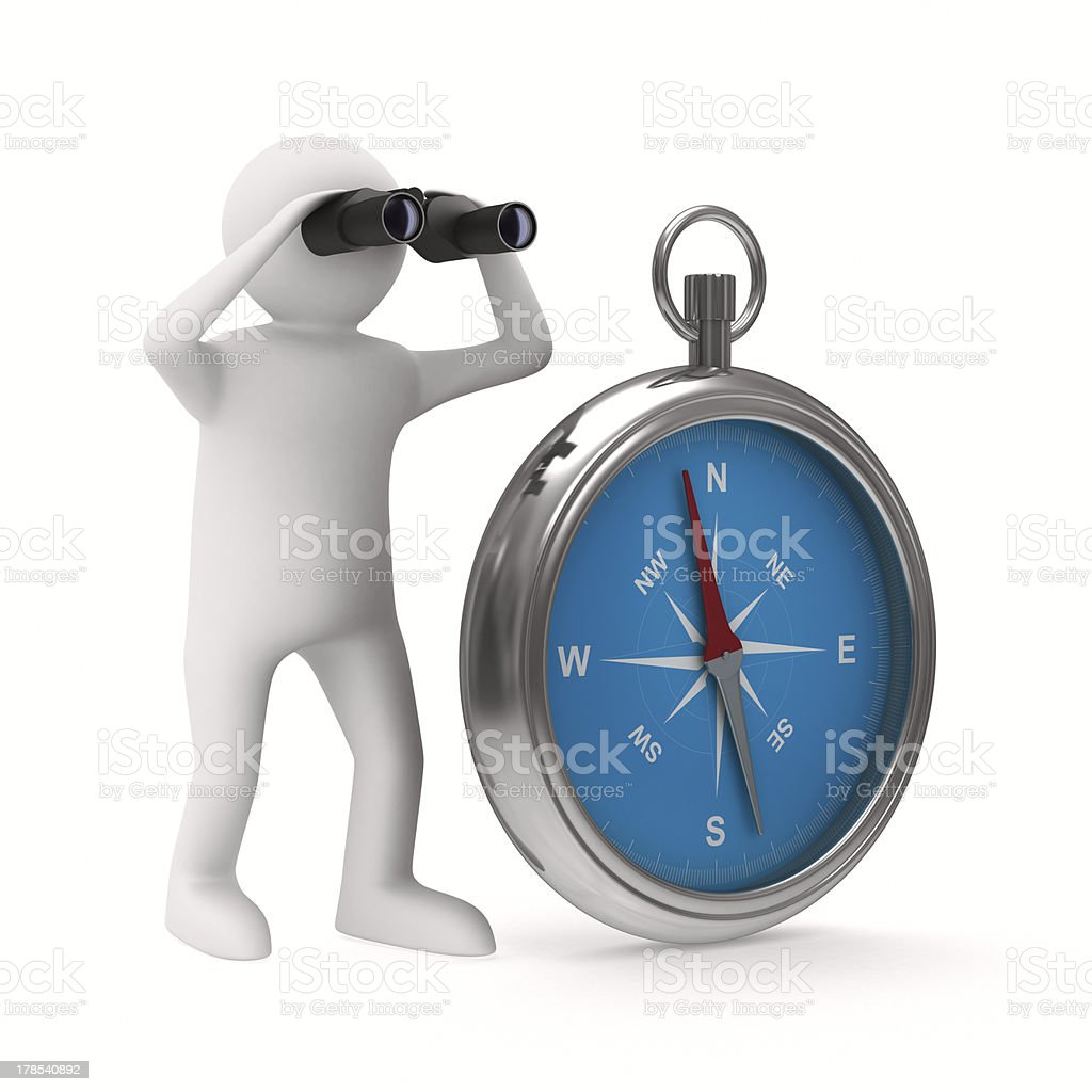 compass on white background. Isolated 3D image royalty-free stock photo