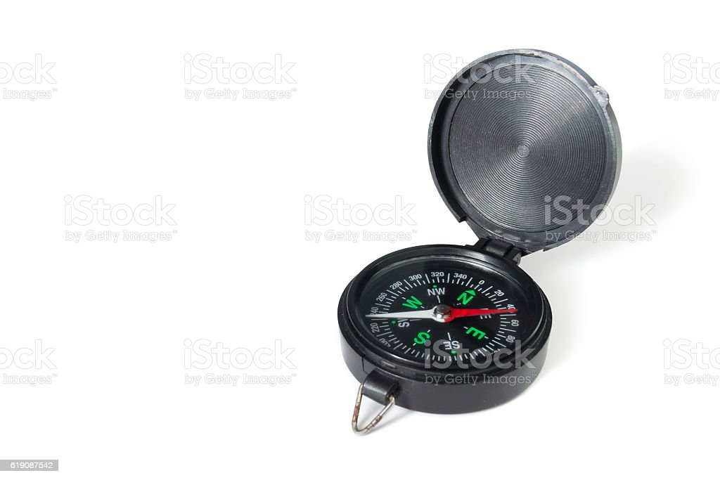 compass on white background stock photo