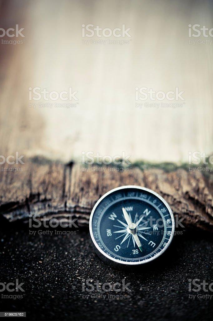 Compass on wood stock photo