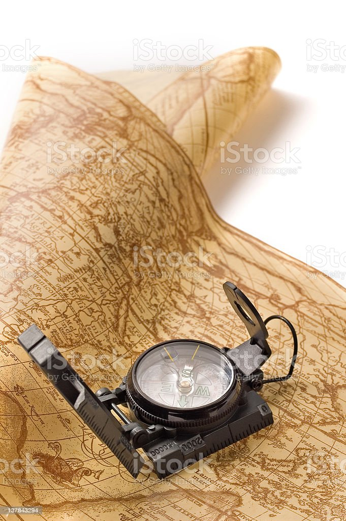 Compass on world map royalty-free stock photo