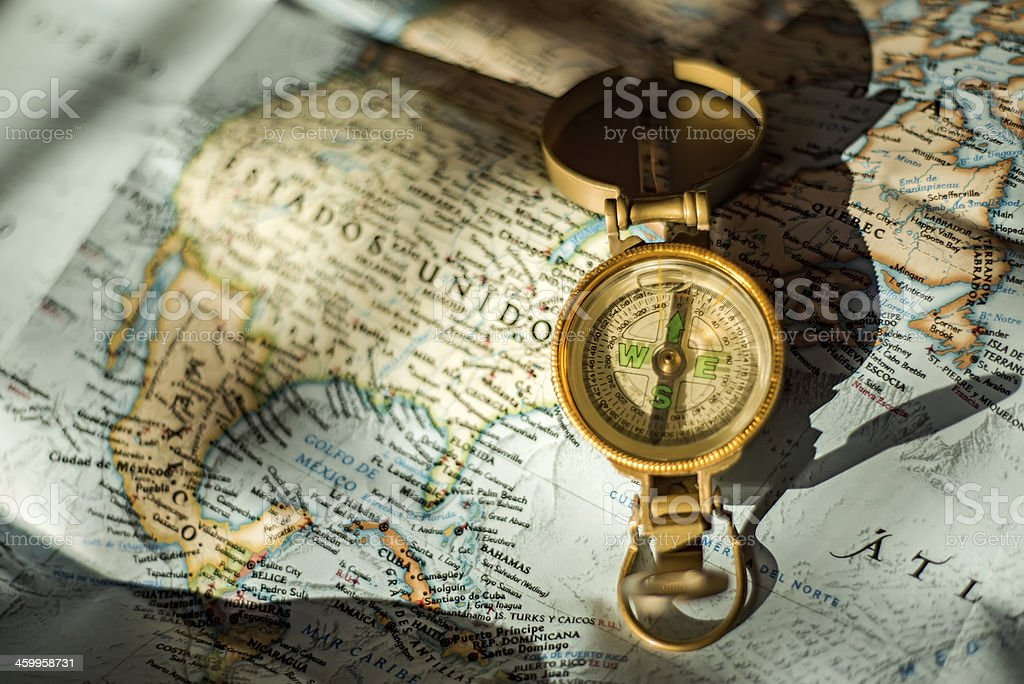 Compass over USA map stock photo