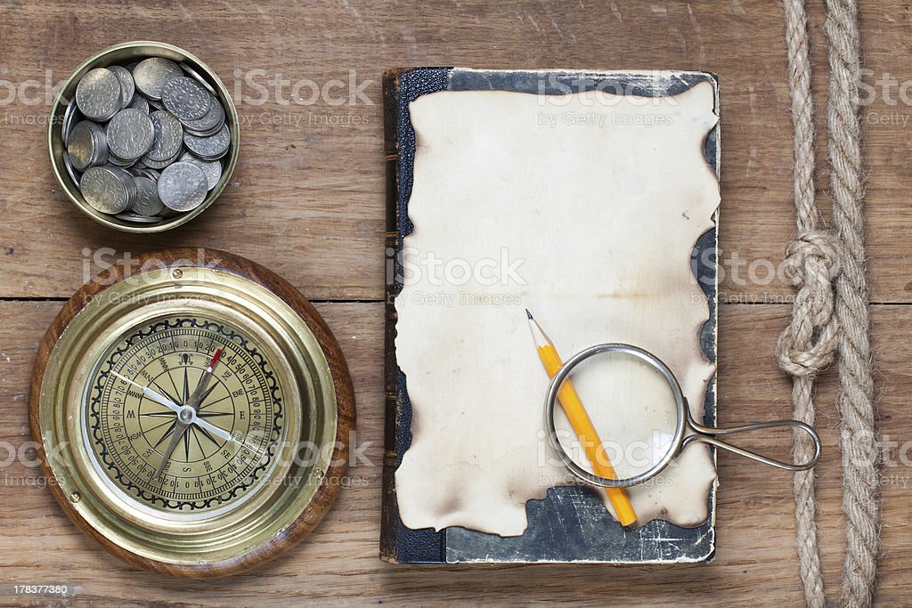 Compass, paper, pencil, magnifying glass on wood royalty-free stock photo