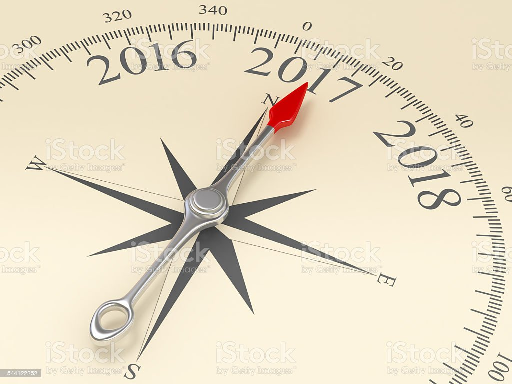 Compass Pointing to 2017 stock photo