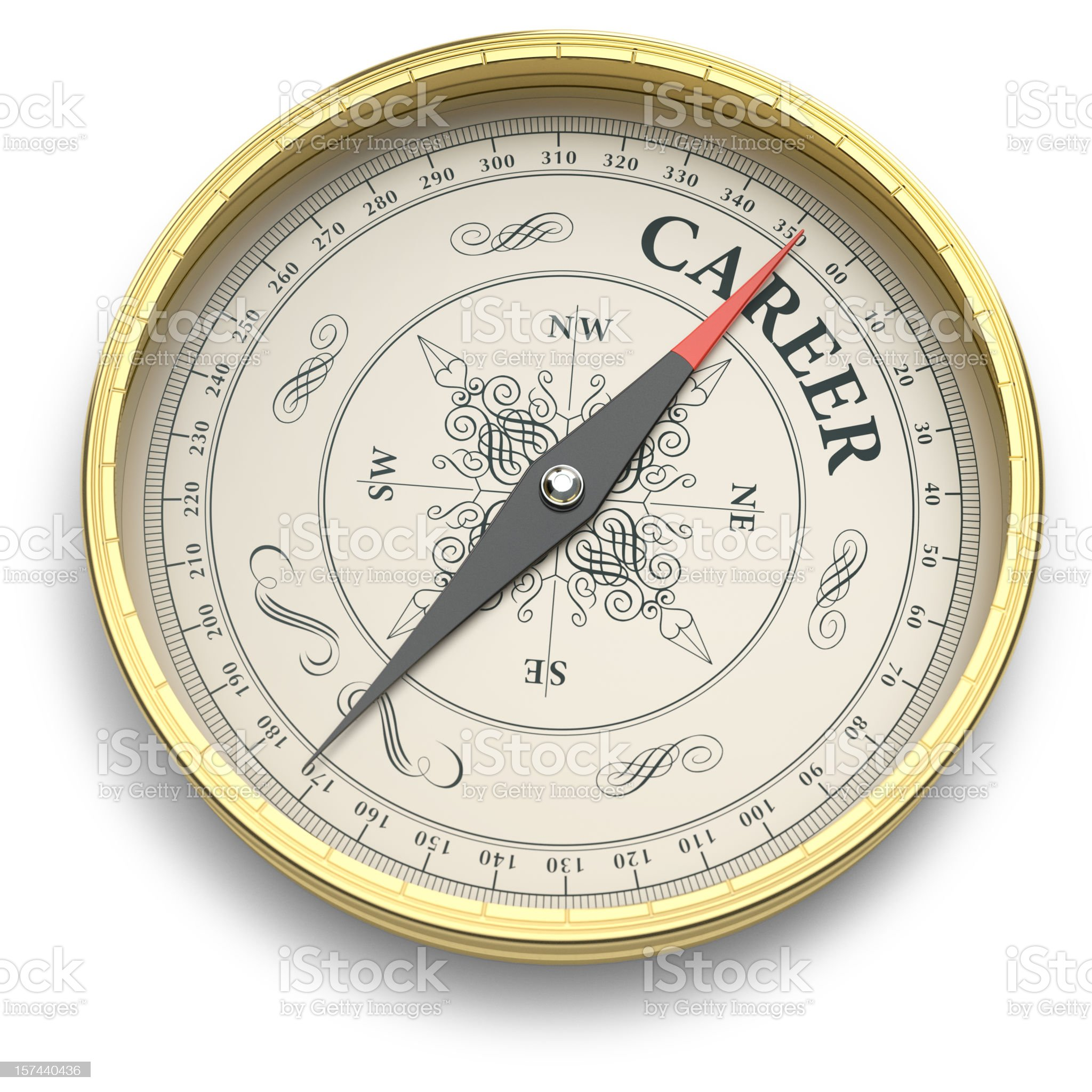 Compass pointing to Career royalty-free stock vector art