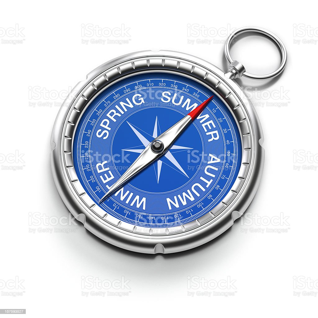 Compass pointing to Summer royalty-free stock photo